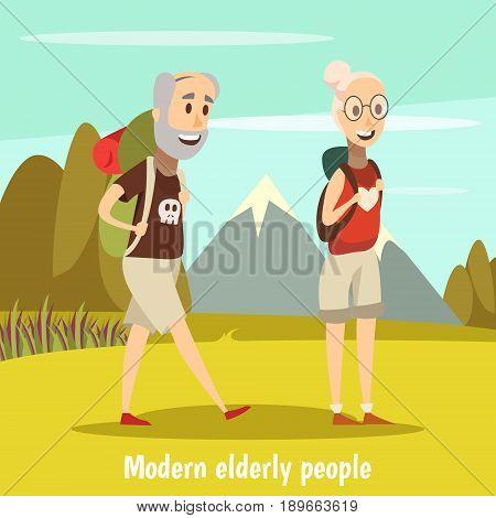 Modern elderly people background with camping  symbols cartoon vector illustration