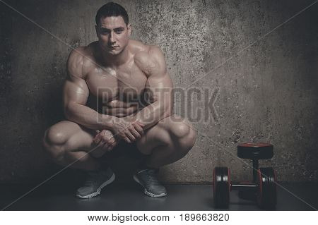 Brutal Strong Athletic Men Pumping Up Muscles