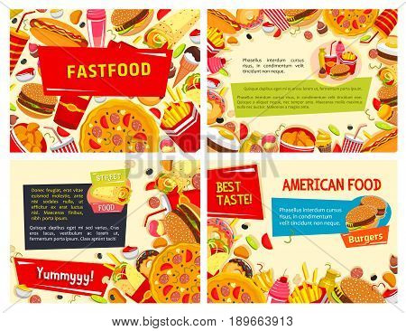 Fast food restaurant poster of hot dog, cheeseburger and pizza or street food snacks and sandwiches, combo of burgers, french fries and ice cream or donut desserts. Vector design for menu template