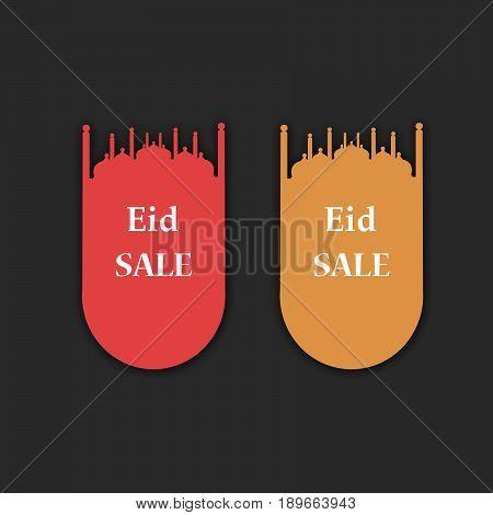 illustration of eid sale tags on occasion of muslim festival eid