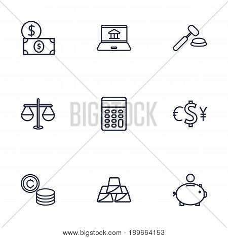 Set Of 9 Budget Outline Icons Set.Collection Of Auction, Exchange, Money Box And Other Elements.