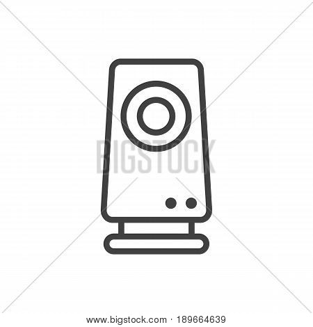 Isolted Amplifier Outline Symbol On Clean Background. Vector Speaker Element In Trendy Style.