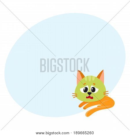 Little red cat, kitten feeling sick to stomach, green from nausea, lying, looking helpless, cartoon vector illustration with space for text. Sick little cat having nausea, foodborne disease