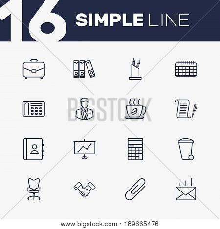 Set Of 16 Bureau Outline Icons Set.Collection Of Contacts, Partnership, Portfolio And Other Elements.