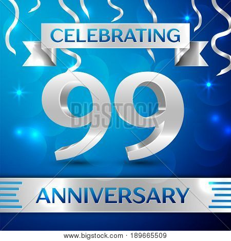 Ninety nine Years Anniversary Celebration Design. Confetti and silver ribbon on blue background. Colorful Vector template elements for your birthday party. Anniversary ribbon