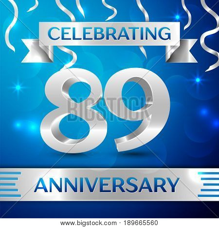 Eighty nine Years Anniversary Celebration Design. Confetti and silver ribbon on blue background. Colorful Vector template elements for your birthday party. Anniversary ribbon
