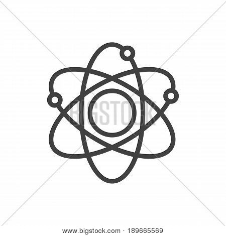 Isolted Molecule Outline Symbol On Clean Background. Vector Atom Element In Trendy Style.
