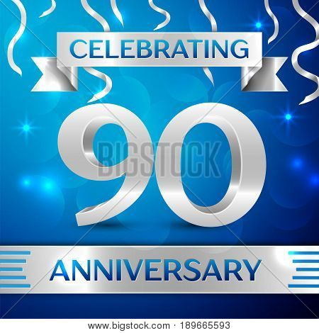 Ninety Years Anniversary Celebration Design. Confetti and silver ribbon on blue background. Colorful Vector template elements for your birthday party. Anniversary ribbon