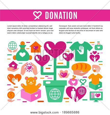 Charity donation information page with set of colored icons on theme of donating money clothing food and toys for children  flat vector illustration