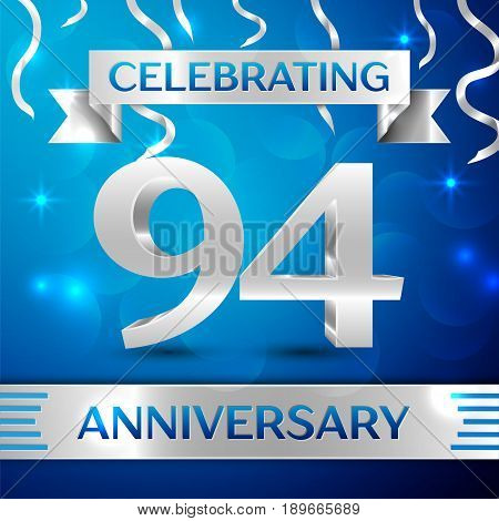 Ninety four Years Anniversary Celebration Design. Confetti and silver ribbon on blue background. Colorful Vector template elements for your birthday party. Anniversary ribbon