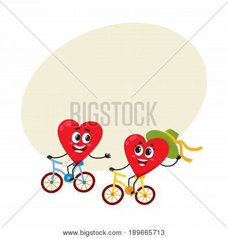 Two hearts cycling together, riding bicycles, couple in love concept, cartoon vector illustration with space for text. Funny couple of hearts having fun riding bicycles, love and feelings
