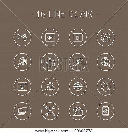 Set Of 16 Engine Outline Icons Set.Collection Of Cost Per, Block, Stock Exchange And Other Elements.