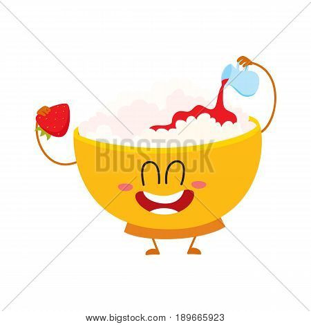 Funny smiling bowl of cottage cheese character pouring strawberry jam over itself, cartoon vector illustration isolated on white background. Cute and funny cottage cheese bowl character, dairy product