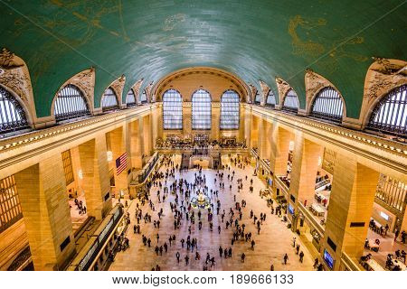 NEW YORK CITY - OCTOBER 28, 2016: Interior view of the main concourse at historic Grand Central Terminal.