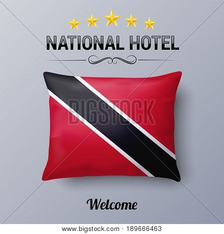 Realistic Pillow and Flag of Trinidad and Tobago as Symbol National Hotel. Flag Pillow Cover with flag colors