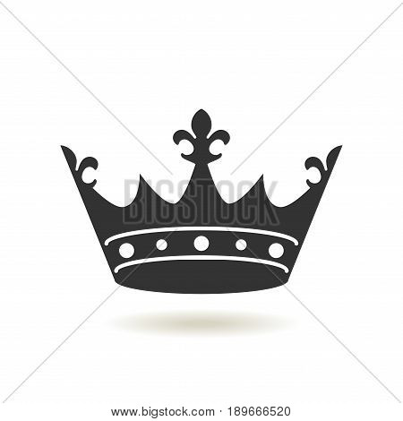 Crown Icon In Trendy Flat Style. Monarchy Authority And Royal Symbols. Monochrome Vintage Antique Ic