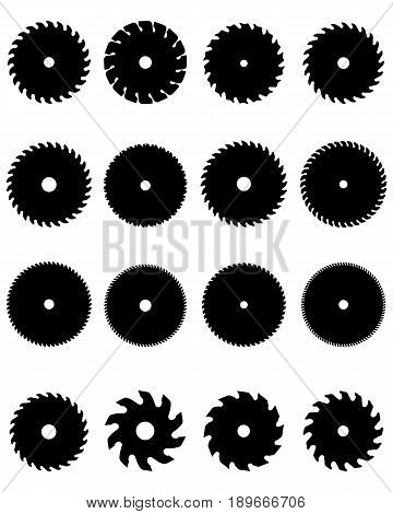 Black silhouettes of different circular saw blades