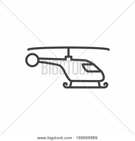 Isolted Copter Outline Symbol On Clean Background. Vector Helicopter Element In Trendy Style.