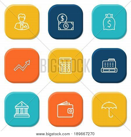 Set Of 9 Finance Outline Icons Set.Collection Of Wallet, Cash Register, Moneybag And Other Elements.