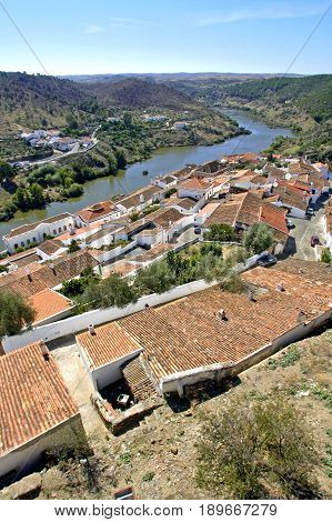 A down angle of Mertola village in Portugal. Showing the lovely rooftops of the tradtional houses there.