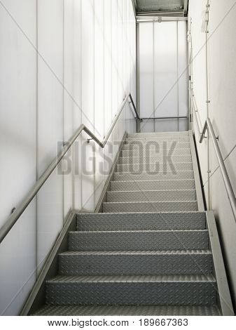 Modern metal staircase detail of an access staircase pedestrian architecture