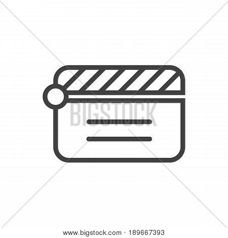 Isolted Action Outline Symbol On Clean Background. Vector Clapperboard Element In Trendy Style.