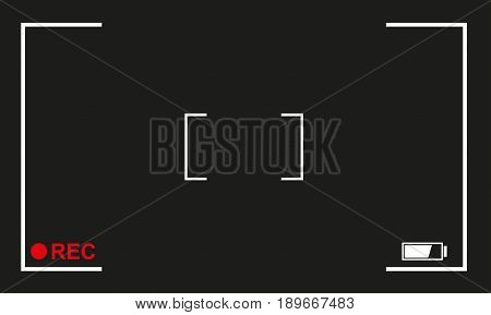 Camera focus frame. Camera viewfinder background design with rec label and battery level. Vector illustration.