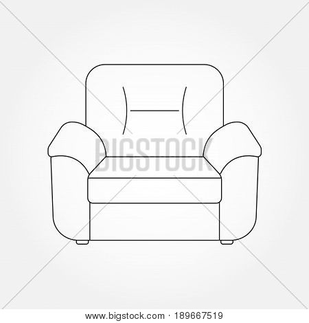 Armchair line icon. Furniture outline icons for living room. Vector illustration of modern armchair.