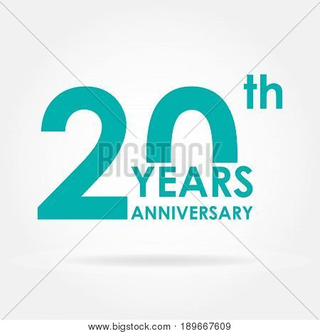 20 years anniversary icon. Template for celebration and congratulation design. Flat vector 20th anniversary label.