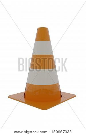 3D Rendering Of A Traffice Cone On White