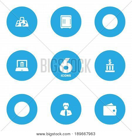 Set Of 6 Finance Icons Set.Collection Of Strongbox, Purse, Electron Report And Other Elements.