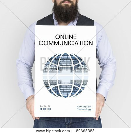 Man holding banner of  global communication connection technology