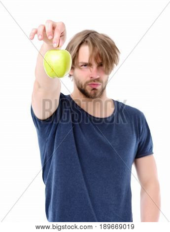 Man With Short Beard, Confident Face Expression Holding Apple Tail