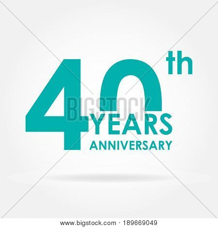 40 years anniversary icon. Template for celebration and congratulation design. Flat vector illustration of 40th anniversary label.