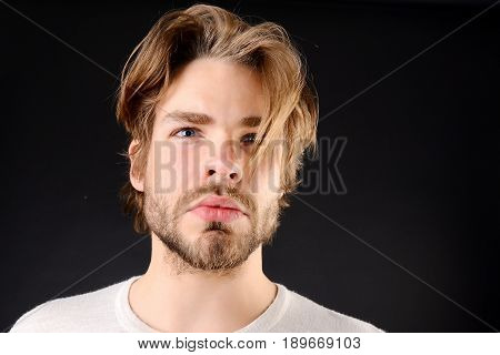 Sexy Macho With Short Beard, Moustache And Fair Hair