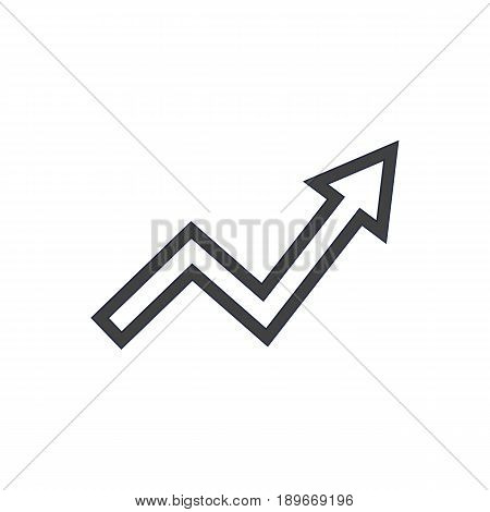 Isolted Graph Outline Symbol On Clean Background. Vector Grow Up Element In Trendy Style.