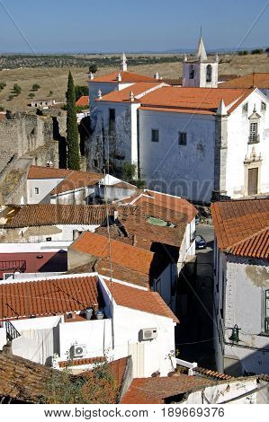 The dated yet typical rooftops of an old Portuguese village.