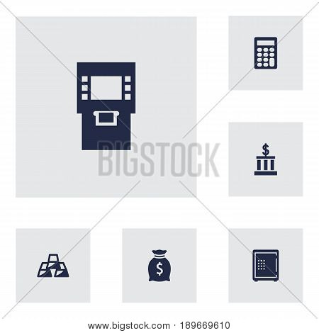 Set Of 6 Budget Icons Set.Collection Of Ingot, Terminal, Calculate And Other Elements.