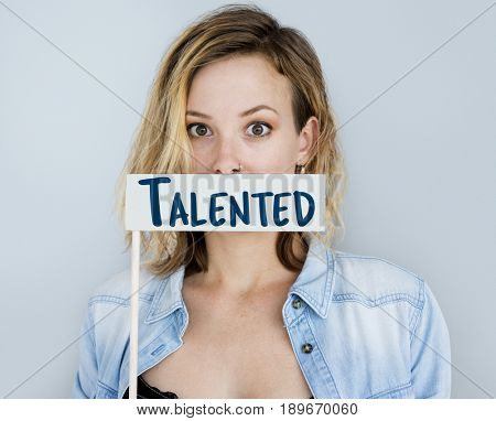 Adult Woman Showing Talented Skills Word Sign