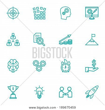 Set Of 16 Business Outline Icons Set.Collection Of Teamwork, Grid Structure, Target And Other Elements.