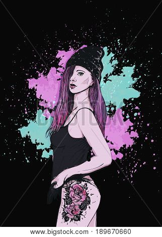 Stylized watercolor in the sky, against a dark background, splashes of watercolor, colorful hair, tattoo. Vector illustration