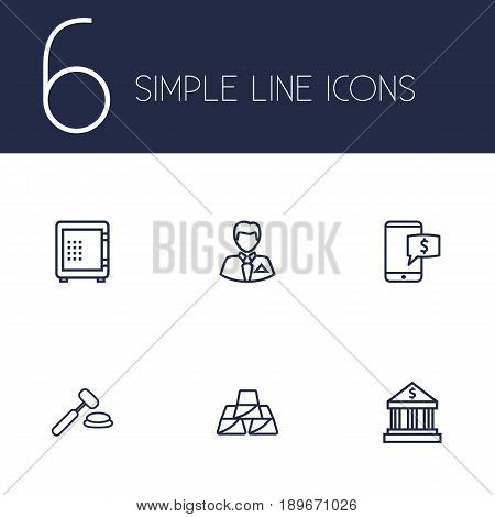 Set Of 6 Finance Outline Icons Set.Collection Of Bank, Safe, Golden Bars And Other Elements.