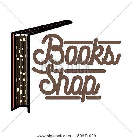 Color vintage books shop emblem. Bookstore. Books, science knowledge