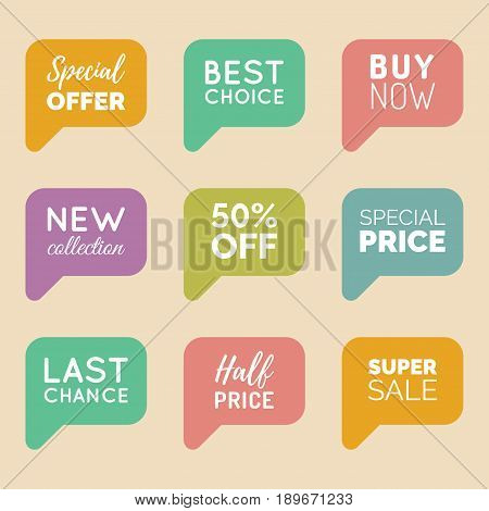Vector hand drawn set of speech bubbles with sale phrases. Discount card collection, Buy Now, Special Offer, Half Price, Last Chance etc. Illustrations of labels.