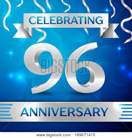 Ninety six Years Anniversary Celebration Design. Confetti and silver ribbon on blue background. Colorful Vector template elements for your birthday party. Anniversary ribbon