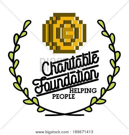 Color vintage charitable foundation emblem, label, badge and design elements. Vector illustration, EPS 10