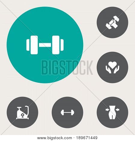 Set Of 6 Bodybuilding Icons Set.Collection Of Slimming, Dumbbell, Bodybuilding And Other Elements.