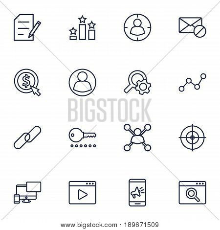 Set Of 16 Engine Outline Icons Set.Collection Of Blogging, Keywords, Guest And Other Elements.