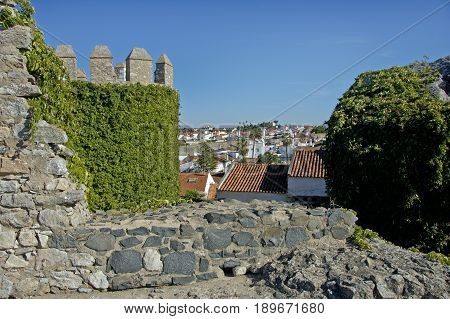 The look-post of an old Portuguese castle decorated by growth.