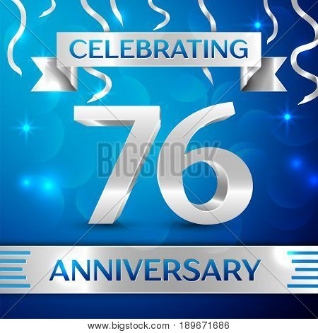 Seventy six Years Anniversary Celebration Design. Confetti and silver ribbon on blue background. Colorful Vector template elements for your birthday party. Anniversary ribbon